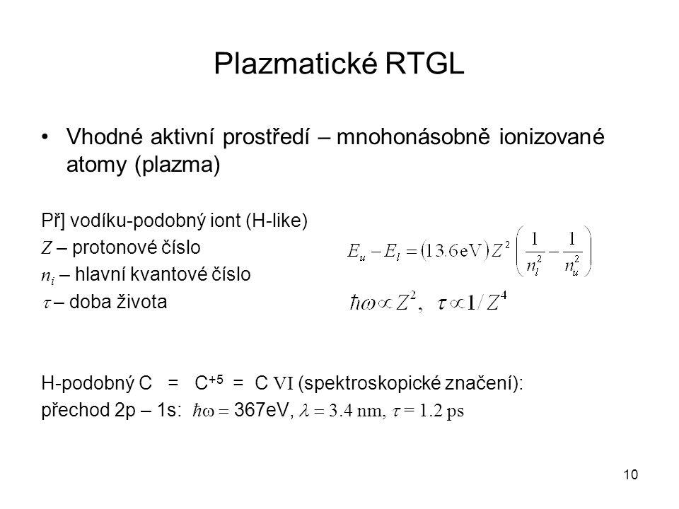 Plazmatické RTGL Vhodné aktivní prostředí – mnohonásobně ionizované atomy (plazma) Př] vodíku-podobný iont (H-like)